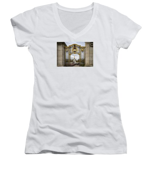 Women's V-Neck T-Shirt (Junior Cut) featuring the photograph Australia Gate Towards Queen Victoria's Statue by Shirley Mitchell