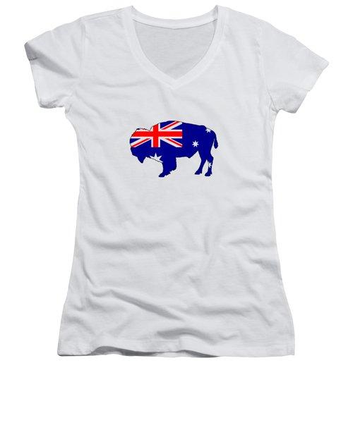 Australian Flag - Bison Women's V-Neck T-Shirt