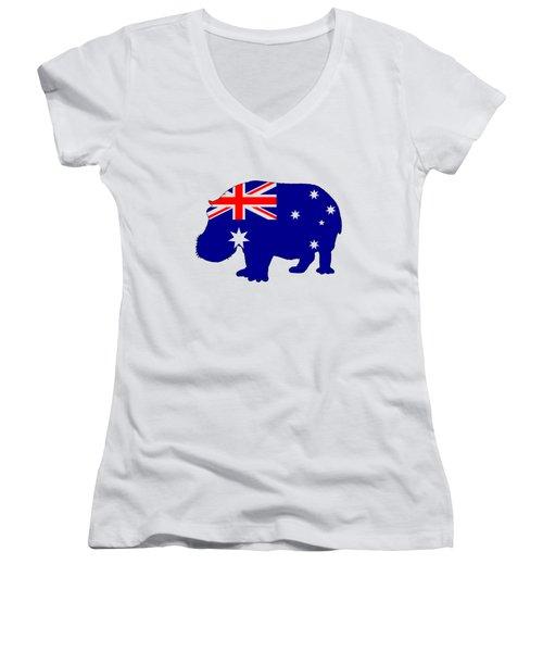 Australian Flag - Hippopotamus Women's V-Neck T-Shirt