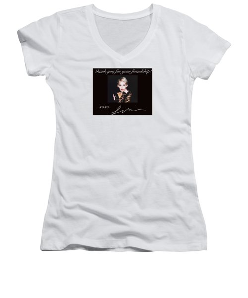 Autographed Portrait  Women's V-Neck T-Shirt (Junior Cut) by Laura Michelle Corbin