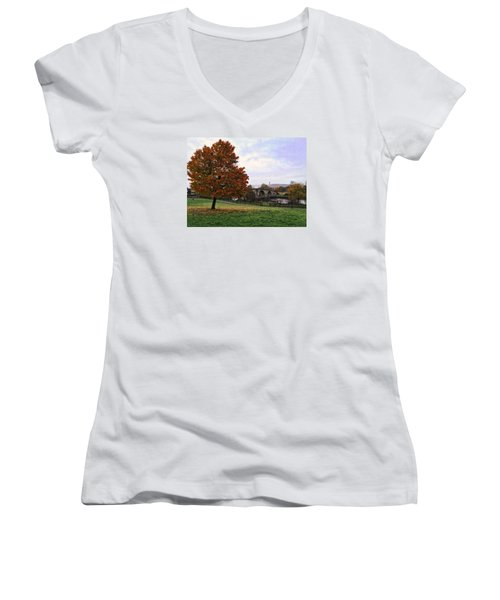 Autumn At Stirling Bridge Women's V-Neck T-Shirt (Junior Cut) by RKAB Works