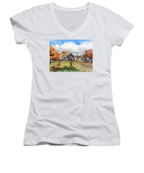 Autumn At The Farm Women's V-Neck T-Shirt (Junior Cut) by Ron Stephens