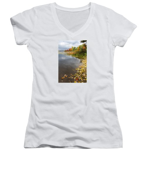 Autumn At The Lake In Nh Women's V-Neck