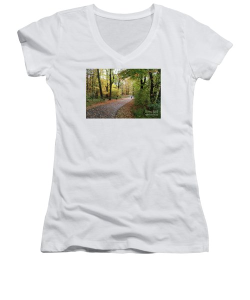 Women's V-Neck T-Shirt (Junior Cut) featuring the photograph Autumn Bicycling by Felipe Adan Lerma