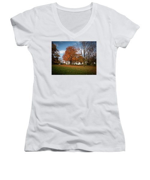Autumn Bliss Women's V-Neck T-Shirt (Junior Cut) by Kimberly Mackowski
