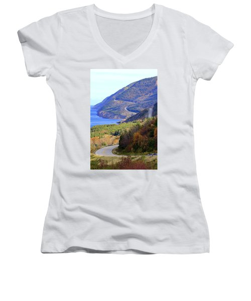 Autumn Color On The Cabot Trail, Cape Breton, Canada Women's V-Neck (Athletic Fit)