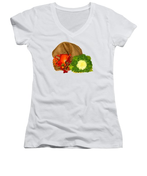 Autumn Display Expressionist Effect Women's V-Neck T-Shirt