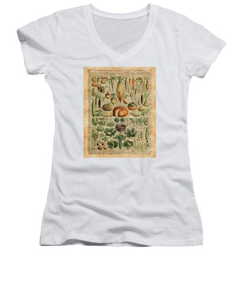 Autumn Fall Vegetables Kiche Harvest Thanksgiving Dictionary Art Vintage Cottage Chic Women's V-Neck T-Shirt