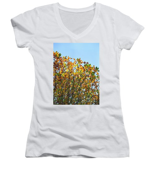Women's V-Neck T-Shirt (Junior Cut) featuring the photograph Autumn Flames - Original by Rebecca Harman