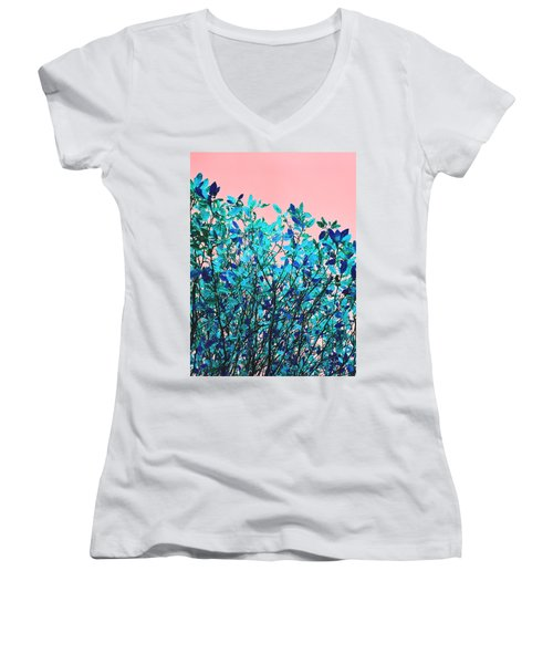 Women's V-Neck T-Shirt (Junior Cut) featuring the photograph Autumn Flames - Peach by Rebecca Harman