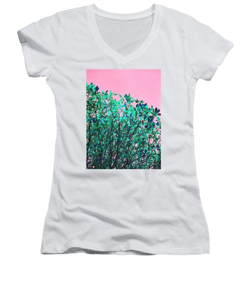 Women's V-Neck T-Shirt (Junior Cut) featuring the photograph Autumn Flames - Pink by Rebecca Harman
