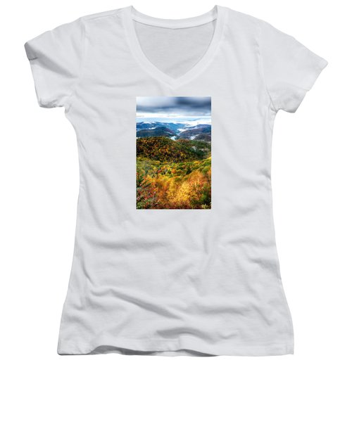 Autumn Foliage On Blue Ridge Parkway Near Maggie Valley North Ca Women's V-Neck T-Shirt