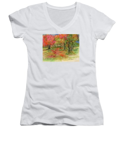 Autumn Forest Watercolor Illustration Women's V-Neck