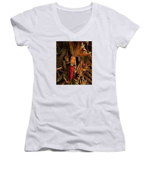 Women's V-Neck T-Shirt (Junior Cut) featuring the photograph Autumn Harvest by Kathleen Stephens