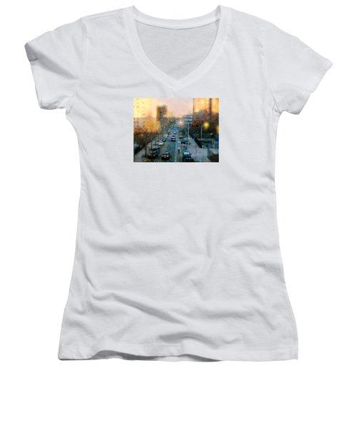 Autumn In Harlem Women's V-Neck T-Shirt (Junior Cut) by Diana Angstadt