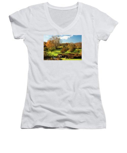 Autumn In The Park Women's V-Neck T-Shirt