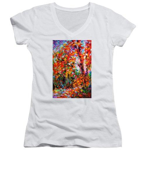 Autumn Leaves Women's V-Neck T-Shirt (Junior Cut) by Helen Kagan