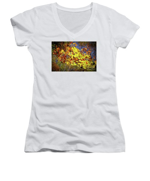 Women's V-Neck T-Shirt (Junior Cut) featuring the photograph Autumn Light by Tatsuya Atarashi