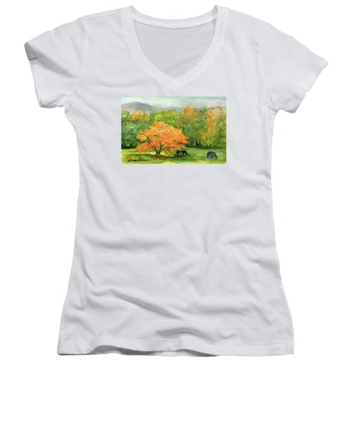 Autumn Maple With Horses Grazing Women's V-Neck
