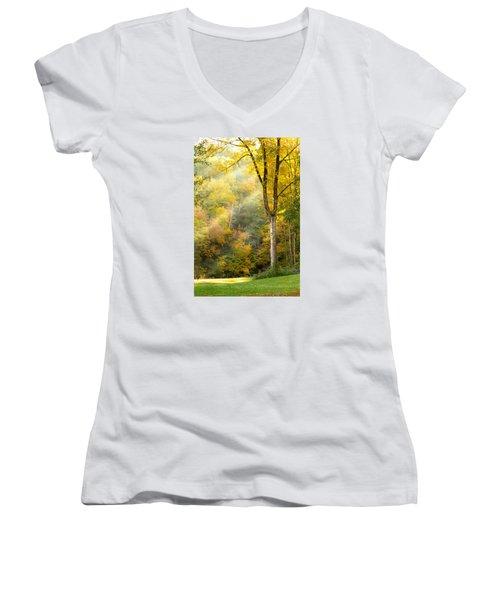 Autumn Morning Rays Women's V-Neck T-Shirt (Junior Cut) by Brian Caldwell