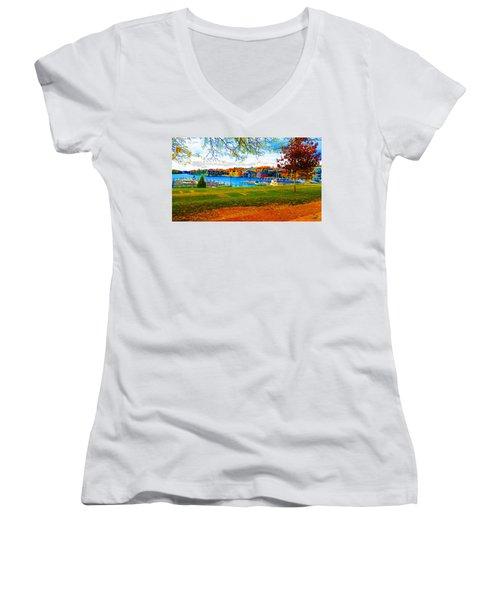 Autumn On Lake Charlevoix Women's V-Neck T-Shirt