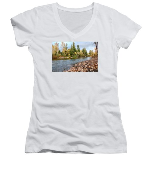 Autumn On The Molalla Women's V-Neck (Athletic Fit)