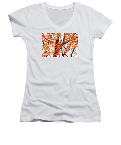 Autumn Red Leaves On A Tree   Women's V-Neck T-Shirt (Junior Cut) by Ulrich Schade