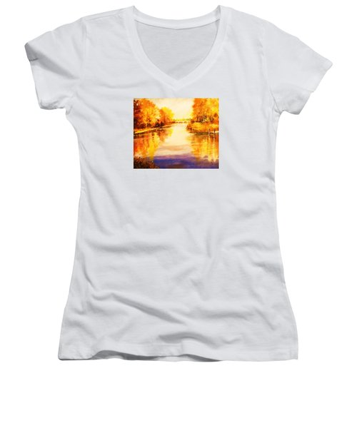 Women's V-Neck T-Shirt (Junior Cut) featuring the painting Autumn Gateway by Al Brown