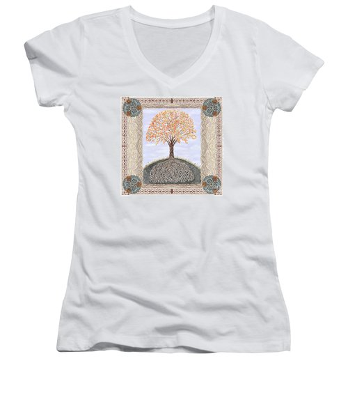Autumn Tree Of Life Women's V-Neck