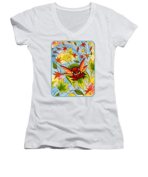 Autumn Winds Fairy Cat Women's V-Neck T-Shirt (Junior Cut) by Carrie Hawks