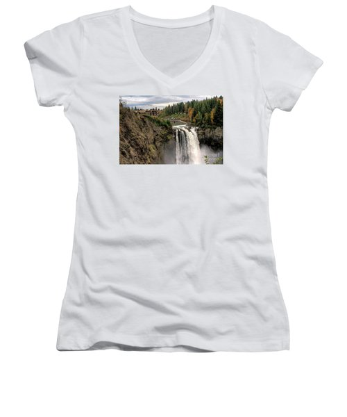 Autumnal Falls Women's V-Neck T-Shirt (Junior Cut) by Chris Anderson