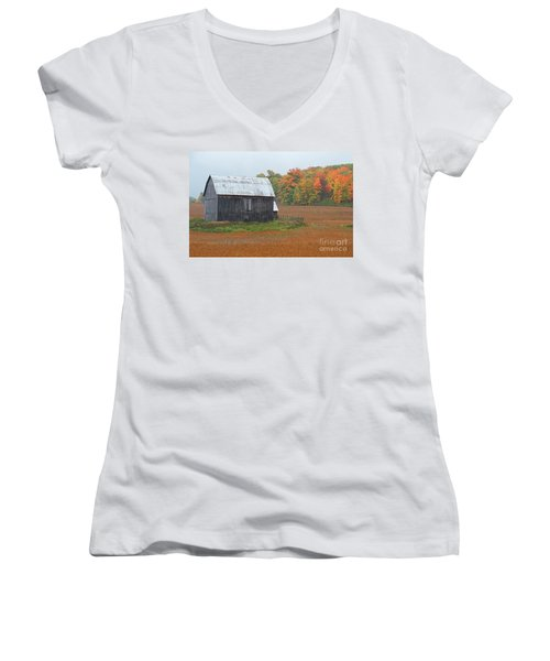 Women's V-Neck T-Shirt (Junior Cut) featuring the photograph Autumnal.. by Nina Stavlund