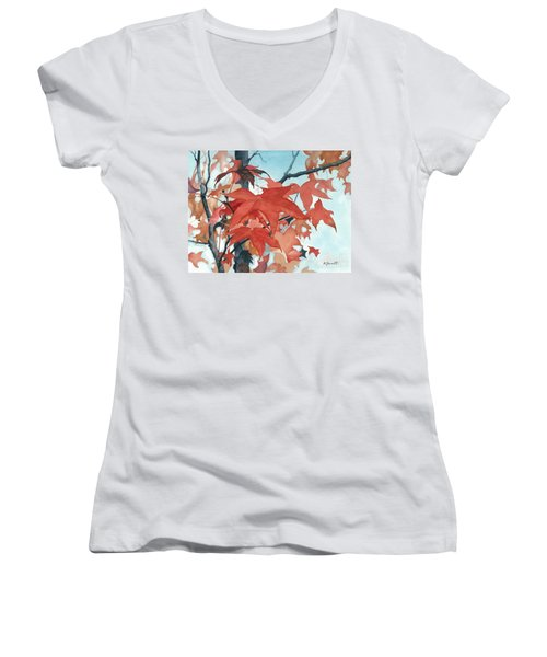 Women's V-Neck T-Shirt (Junior Cut) featuring the painting Autumn's Artistry by Barbara Jewell