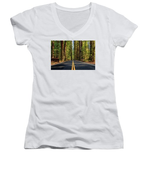 Avenue Of The Giants Women's V-Neck T-Shirt (Junior Cut) by James Eddy