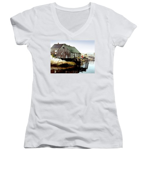 Awaiting The Catch Women's V-Neck T-Shirt