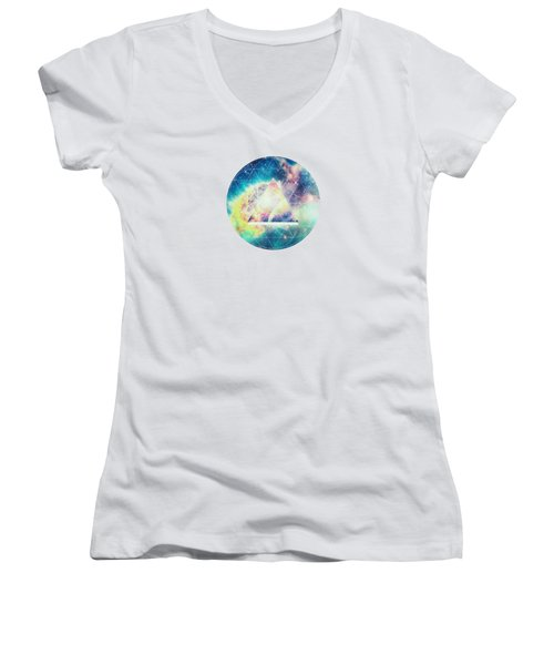 Awsome Collosal Deep Space Triangle Art Sign Women's V-Neck T-Shirt