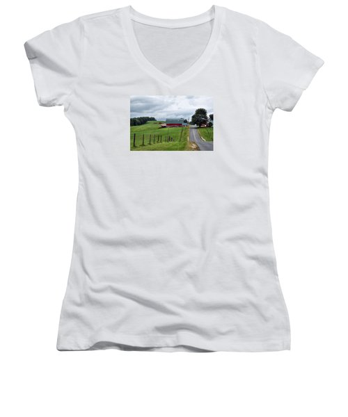 Ayrhill Farm No. 1 - The Berkshires Women's V-Neck (Athletic Fit)
