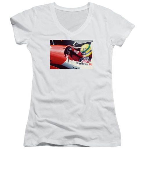 Ayrton Senna. 1993 Spanish Grand Prix Women's V-Neck T-Shirt