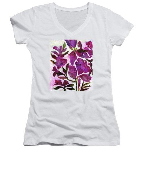 Azaleas Women's V-Neck T-Shirt (Junior Cut) by Julie Maas