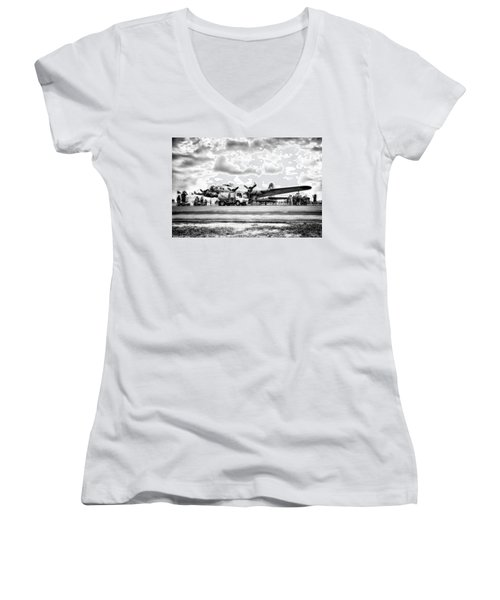 B-17 Bomber Fueling Up In Hdr Women's V-Neck T-Shirt