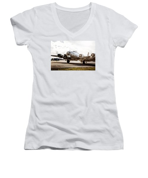 B-17 Bomber Ready For Takeoff Women's V-Neck (Athletic Fit)