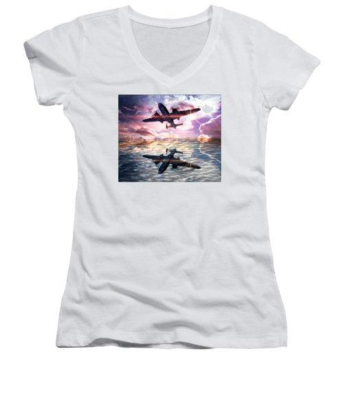 Women's V-Neck T-Shirt (Junior Cut) featuring the digital art B-25b Usaaf by Aaron Berg