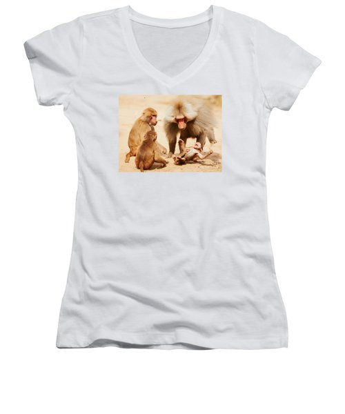 Baboon Family Having Fun In The Desert Women's V-Neck T-Shirt