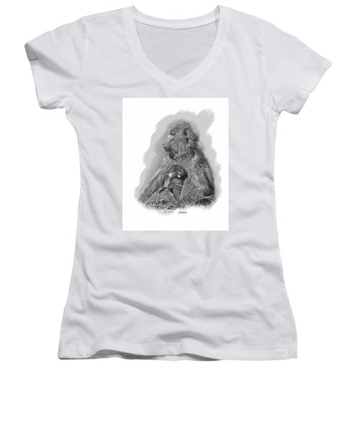 Baboon Mother And Young Women's V-Neck T-Shirt