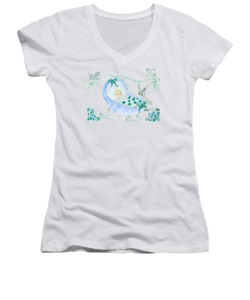 Baby Boy With Bunny And Birds Women's V-Neck