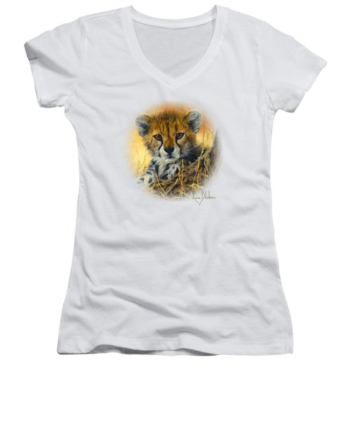 Baby Cheetah  Women's V-Neck T-Shirt (Junior Cut) by Lucie Bilodeau
