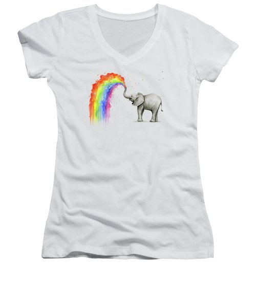Baby Elephant Spraying Rainbow Women's V-Neck (Athletic Fit)