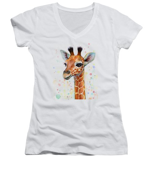 Baby Giraffe Watercolor  Women's V-Neck