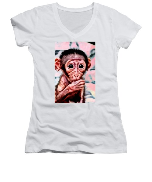 Baby Monkey Realistic Women's V-Neck T-Shirt (Junior Cut) by Catherine Lott