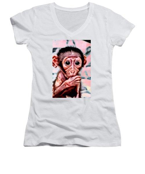 Baby Monkey Realistic Women's V-Neck (Athletic Fit)